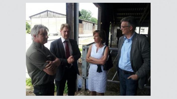 Von links nach rechts: Ralph Schmücker, Inhaber Gut Wansdorf, Bodo Oehme, CDU-Bürgermeister Schönwalde-Glien, Barbara Richstein, CDU-MdL, Uwe Feiler, CDU-Bundestagskandidat