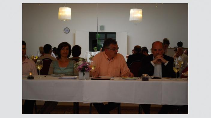 Barbara Richstein und Uwe Feiler beim Mittelstandsgespräch in Dallgow-Döberitz